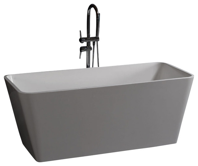 White stand alone resin bathtub glossy large modern for Modern stand alone bathtubs