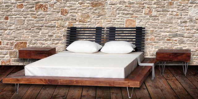 Modern Style Reclaimed Wood Platform Bed - contemporary - beds