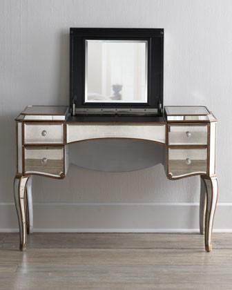 39 Claudia 39 Mirrored Vanity Desk Traditional Bathroom