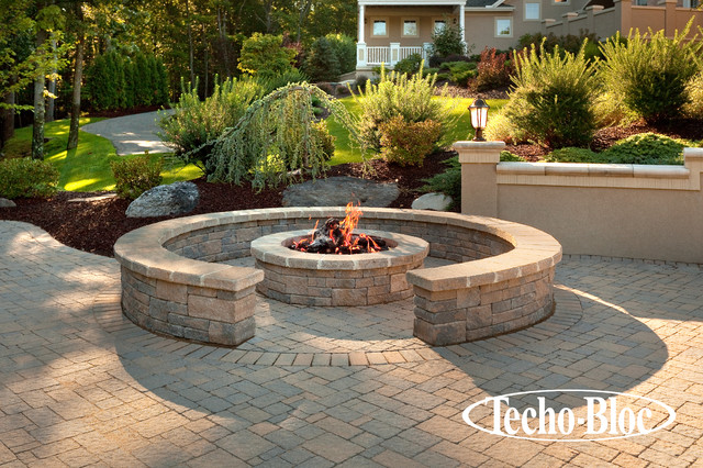 outdoor living valencia fire pit by techo bloc traditional fire pits