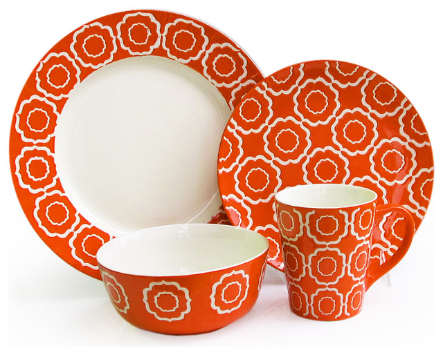 Trellis 16 piece dinnerware set orange contemporary dinnerware