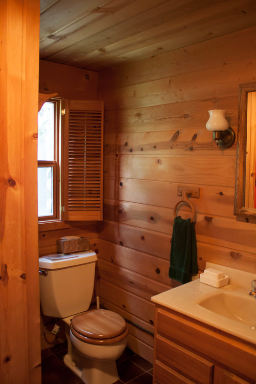 Cabin bathroom update for Log home bathroom ideas