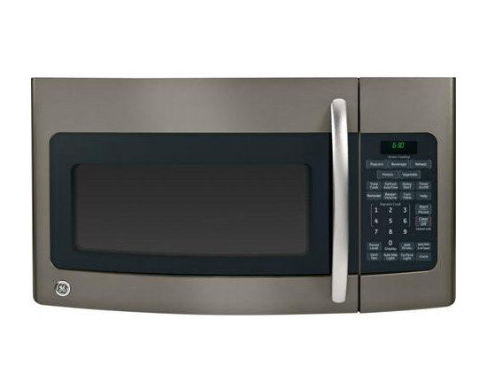 GE Slate  Over-the-Range Microwave Oven - This over-the-range microwave oven has sensor cooking controls,  auto and time defrost, Recessed turntable with On/Off Controls turntable operation, removable two-position oven rack.