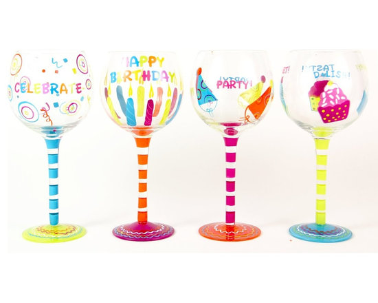Hand Painted Celebrations Wine Glass, Set of 4, Holds 18 Oz - Hand Painted Wine Glasses are perfect for a birthday party, holiday, graduation, or a festive gathering with friends.