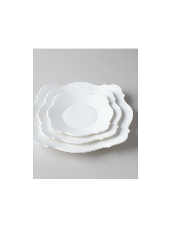 "Jasper Conran for Wedgwood - Jasper Conran for Wedgwood ""Baroque White"" Dinnerware - Clean, simple, classical—this elegant dinnerware features a silhouette influenced by classic baroque arches and medallions. Made of bone china. Dishwasher and microwave safe. Dinner plate, 11""Dia. Salad plate, 9""Dia. Side plate, 7""Dia. Teacup..."