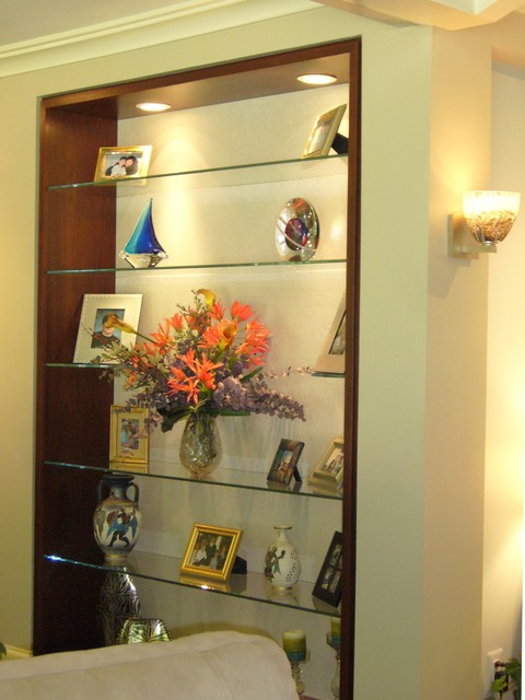 Custom Mahognay Bookcase, Floating Glass Shelves, Murano Glass Art Objects.jpg  