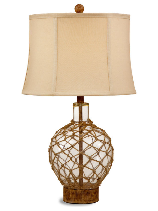 Bassett Mirror - Nautilus Table Lamp - Bring a touch of the sea to your space with the Nautilus Table Lamp. With a nautical influence, this lamp features a wheat-colored texured drum shade, wood base and wood ball finial. The lamp's clear glass is laced with fishnet, making it an ideal complement to beach style decor. Requires 60 watts or less, bulbs not included.