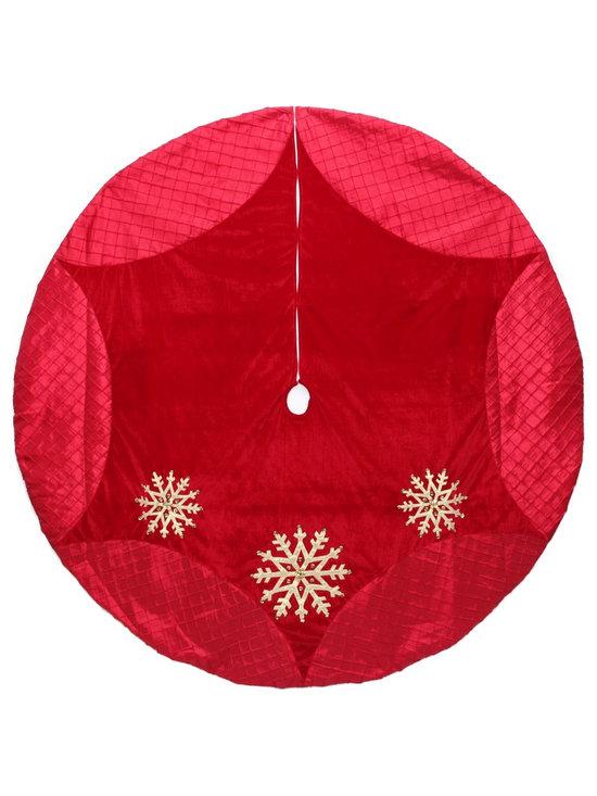Martha Stewart Living Red Martha Stewart Velvet Tree Skirt With Gold Beaded Snow -
