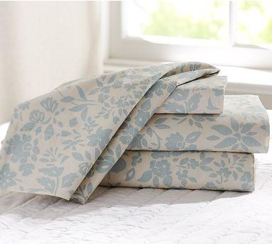 Zinnia Palampore Organic Cotton Sheet Set, Twin, Blue traditional-sheet-and-pillowcase-sets