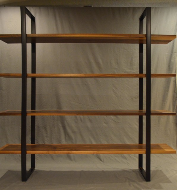 Floating Walnut And Steel Bookcase Modern Bookcases