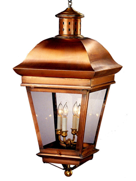 Lanternland - American Legacy Pendant Style Hanging Copper Lantern by Lanternland - The American Legacy Pendant Style Hanging Lantern, shown here in our Antique Copper finish with clear glass, is handcrafted in America from high quality brass and copper. This pendant style hanging light, designed to last for decades and warrantied for life, will never will never rust or corrode. Available in your choice of four standard sizes, seven fabulous finishes and four glass options, this versatile pendant style copper lantern pairs well with traditional, Colonial and Colonial Revival style homes, lake homes and cabins.