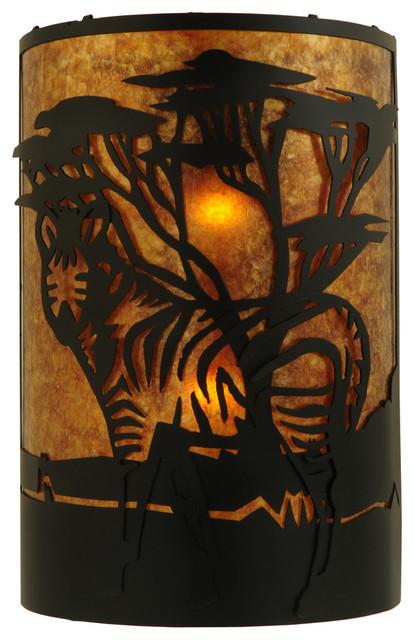 "Meyda Lighting 130871 12""W Zebra Left Wall Sconce - traditional"