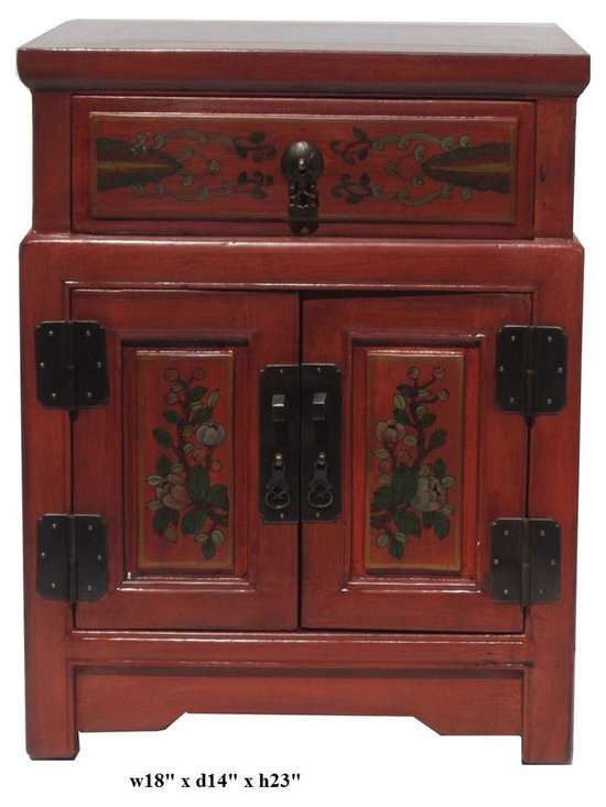 Chinese Orange End Table w Flower Vase Graphic - This is a side table / nightstand with rustic vintage orange lacquer finish. A colorful scenery of Asian flowers & vases scenery is drawn on the door, drawer and top. Vase and flower position is different for each table.