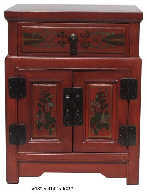 Chinese Orange End Table w Flower Vase Graphic asian-nightstands-and-bedside-tables