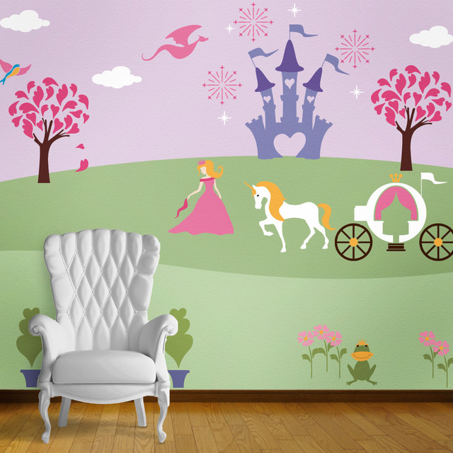 Perfectly Princess Bedroom Wall Mural Stencil Kit for Painting - Contemporary - Wall Stencils ...