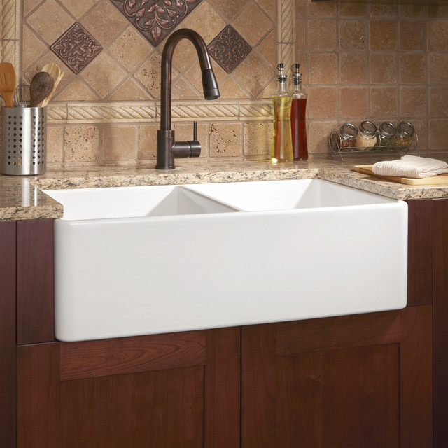 White Double Kitchen Sink : Double-Bowl Fireclay Farmhouse Sink - Contemporary - Kitchen Sinks ...