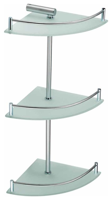Corner Shelves Frosted Glass Stainless Steel 3 Tier Corner Shelf | 13540 - Transitional ...