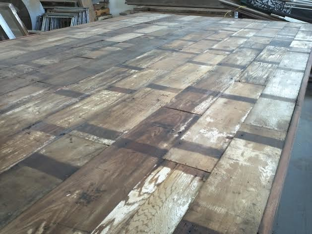 Reclaimed barn wood conference table industrial home for Used lumber los angeles