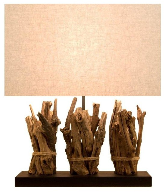 raw teak sticks lamp mediterranean table lamps by natural design house. Black Bedroom Furniture Sets. Home Design Ideas