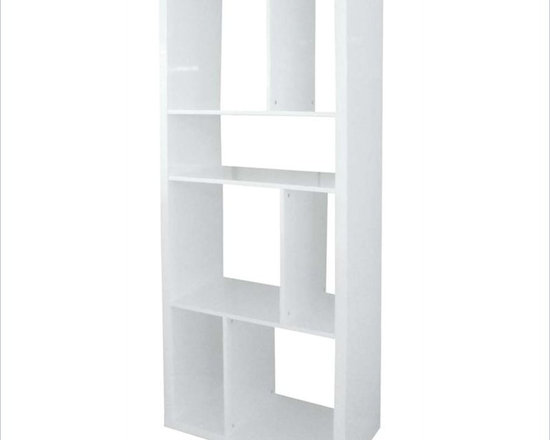 """Eurostyle Reid Shelving Unit in White Lacquer - Standing up or lying down, this Reid unit has an ingenious set of shelves. It's like the designer came over to your home, looked around and said, """"oh yeah, you're going to need a place to put that."""""""
