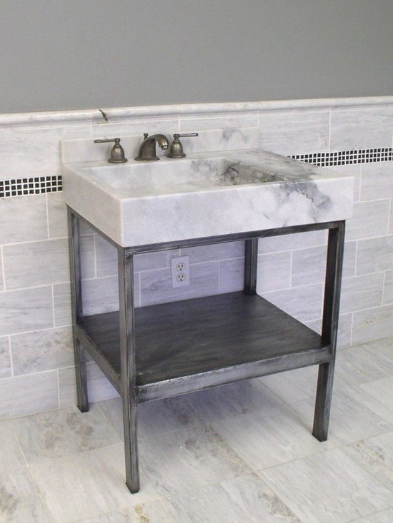 """Vanities  wrought iron and stone - Carrara vanity console Asia  featuring 6"""" thick stone top and wrought iron base in weathered pewter finish ."""