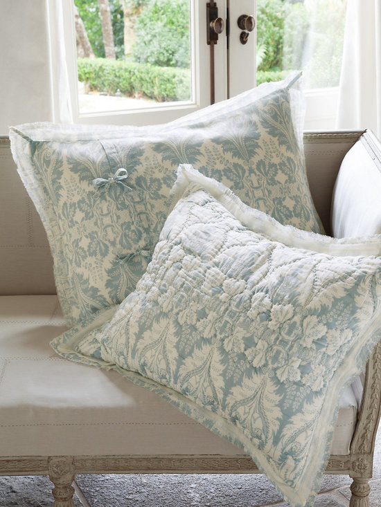 Jourdan Park Bed Sham - Landscaped with rows of stylized art nouveau florals, our Jourdan Park sham is designed to coordinate with the Jourdan Park quilt (sold separately). Hued in serene shades of pearl blue and white, it brings an air of relaxed elegance to the bed. Fashioned of pure cotton voile that's sublimely soft to the touch, the double flange border (sheer white over floral) is finished with frayed edges to confer a note of vintage flair and take the formality down another notch. Back of sham is unquilted and closes with off-center ties.