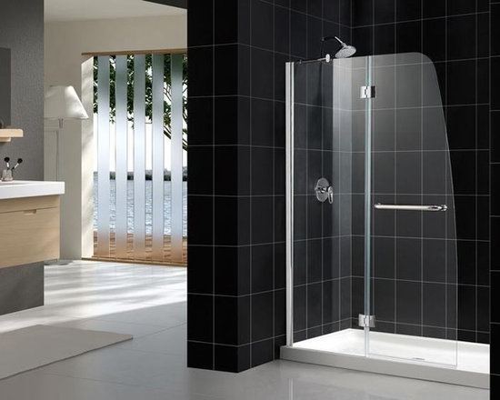 "DreamLine Aqua 48"" Shower Door SHDR-3148726 - Looking for a modern shower door with an incomparable look? The DreamLine™ exclusive AQUA door collection offers unique European design combined with flexible installation options and superior value. A complete AQUA door installation consists of a stationary glass panel attached to the wall with a wall profile and a hinged door designed to open outward. The standard clear glass DreamLine™ AQUA door is reversible for ""left wall"" and ""right wall"" installations and offers cost effective 1/4"" glass without sacrificing advanced design."