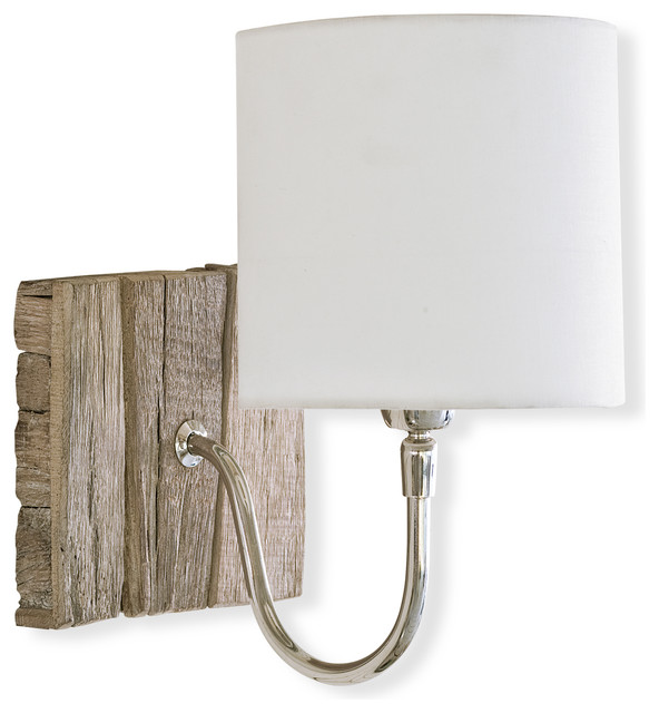 Kenzie Coastal Style Weathered Wood Bent Arm Sconce - Beach Style - Wall Lighting - by Kathy Kuo ...