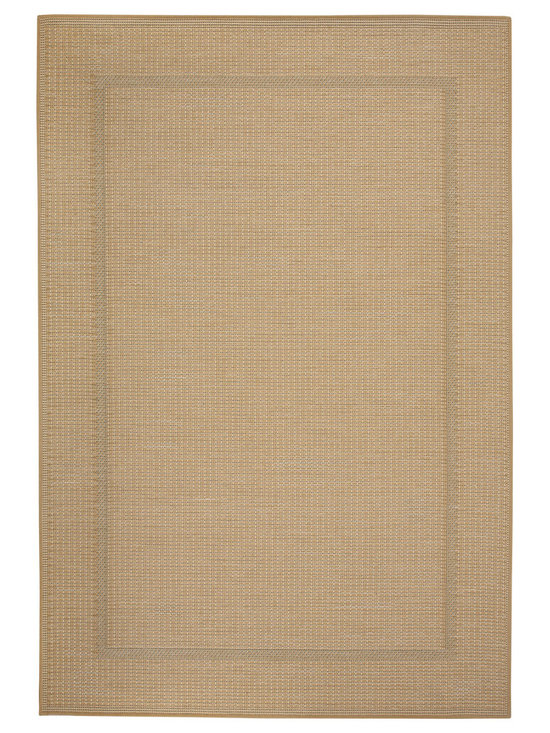 Terrace Border rug in Straw - Wilton-woven for Indoor or Outdoor use, the Terrace Collection sets the standard for this category using seven colors - most indoor/outdoor rugs use two to three at most.