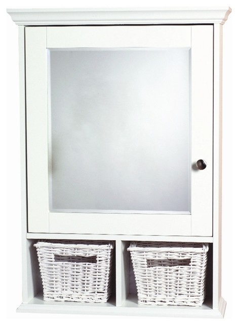 White Decorative Medicine Cabinet W Baskets Contemporary Medicine Cabinets By Shopladder