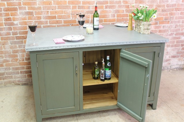 Zinc Kitchen Island With Reclaimed Wood Base Traditional Kitchen Islands And Kitchen Carts