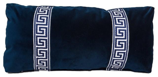 Navy Greek Key Lumbar Pillow mediterranean-pillows