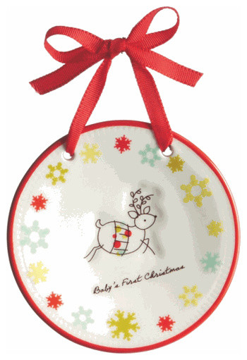 Baby's First Christmas Tree Ornament - Newborn Reindeer Holiday Gift Decoration traditional-christmas-ornaments