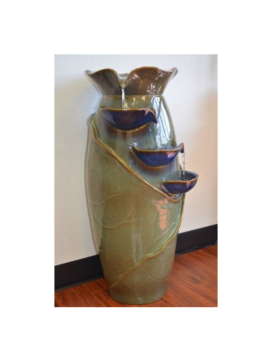 Water Fountains with three Bowls - This Ceramic Urn Fountain with 3 Bowls. Water flows between three different bowl. Includes underwater pump.
