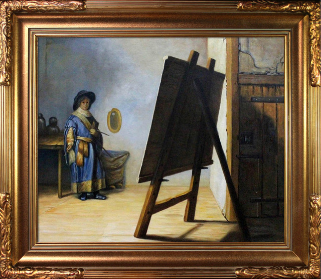 Rembrandt - Artist in His Studio Oil Painting modern-prints-and-posters