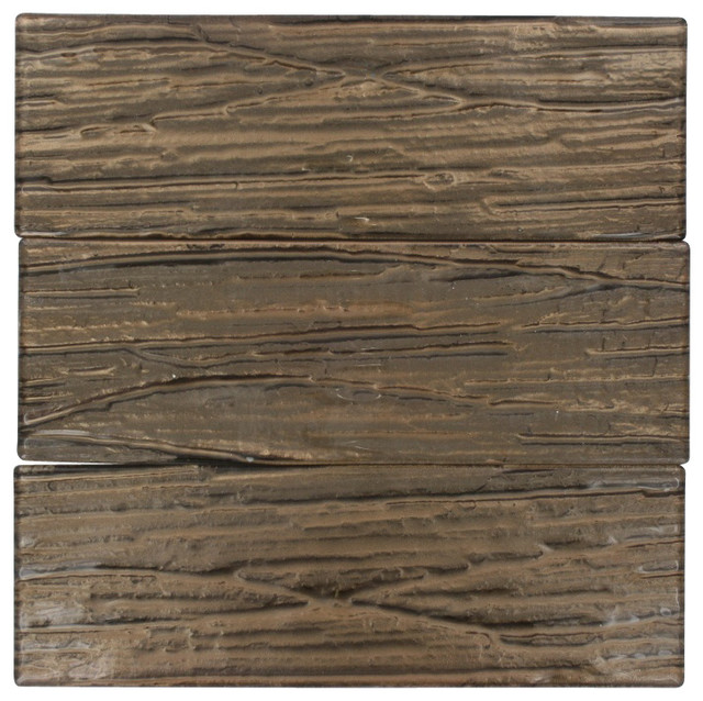Terrene Copper Beech 4x12 Glass Tile contemporary-tile