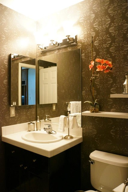 Walls and design traditional-powder-room