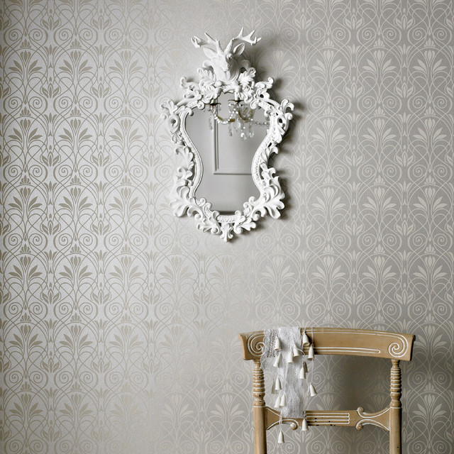Mystical wallpaper silver gray wallpaper new york for Grey silver wallpaper living room