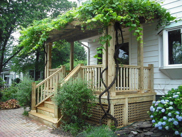Pergola With Vines : Pergola With Vines : Pergola with Covered Porch