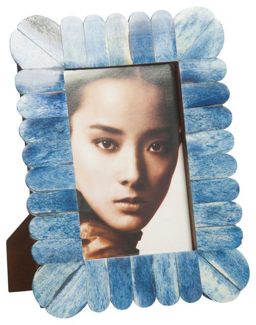 Scalloped Blue Bone Frame - 5 x 7 transitional-frames