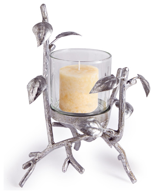 "9.5"" Hurricane Silver Forest contemporary-candles-and-candle-holders"