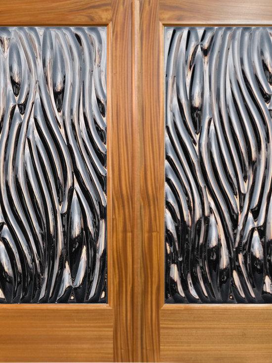 "Sculptural Glass Doors - ""Viento"" - Contemporary Double Door Entry -"