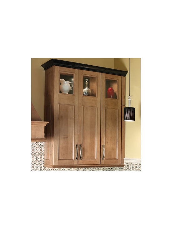 Double Doors - Create a dramatic focal point in your kitchen with this double panel wall cabinet. One door beautifully masks four interior shelves. Add a glass insert to the top section to display your treasures.