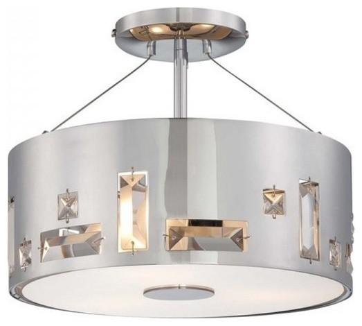 Metal Drum Shade Modern Living Room Semi Flush Mount