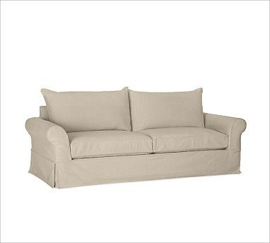 PB Comfort Slipcovered Grand Sofa, Down-Blend Cushions, Textured Basketweave Fla traditional-sofas
