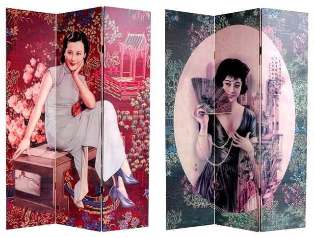 6 ft. Tall Double Sided Shanghai Ladies Canva contemporary-home-decor