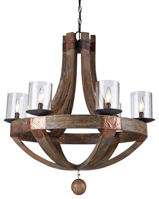"Rustic - Lodge Artcraft Hockley 30"" Wide Pine Wood Chandelier - Traditional - Chandeliers - by ..."