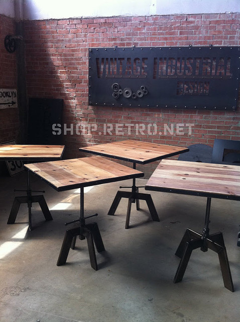 French industrial adjustable cafe dining table - Table bar industriel ...