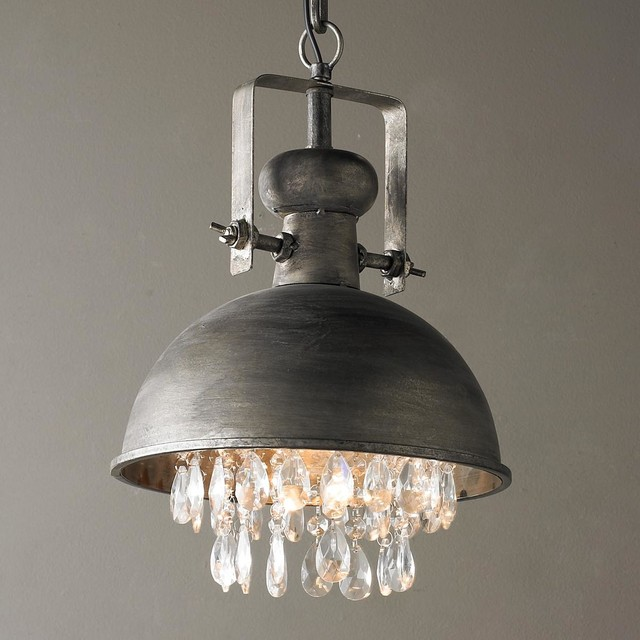 Industrial Pendant with Crystals - Pendant Lighting