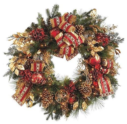 Plaza Pre Lit Christmas Wreath Christmas Decor